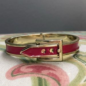 BaubleBar Gold and Hot Pink Buckle Bangle
